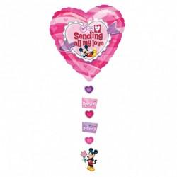 """Balon Folie Figurina Mickey """"Sending All My love"""" - 61x137 cm, Anagram 10468"""