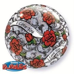 "Balon Bubble 22""/56 cm, I love you Red Rose, Qualatex, 27405"