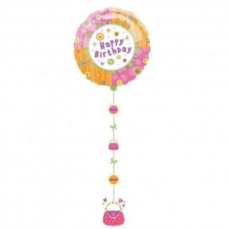 Drop A Line Happy Birthday Shape Foil Balloon - 61x137 cm, Anagram 11170