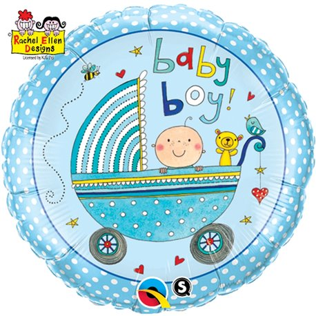 "Rachel Ellen Baby Boy Stroller Foil Balloon, Qualatex, 18"", 50253"