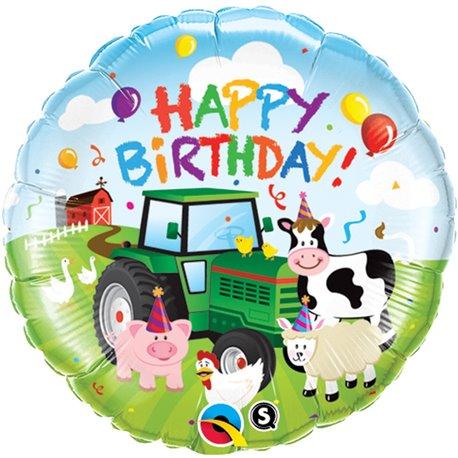 "Balon Folie 45 cm ""Happy Birthday"" Barnyard, Qualatex 29612"