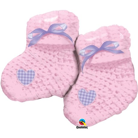 "Balon Folie Figurina Baby Girl Booties - 90cm/35"", Qualatex 60724"