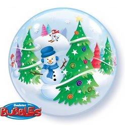 "Festive Trees & Snowmen Bubble Balloon - 22""/56cm, Qualatex 31851, 1 piece"