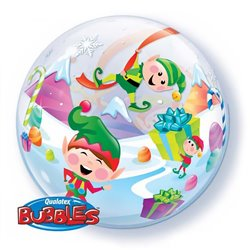 "Merry Elves Bubble Balloon - 22""/56cm, Qualatex 50982"