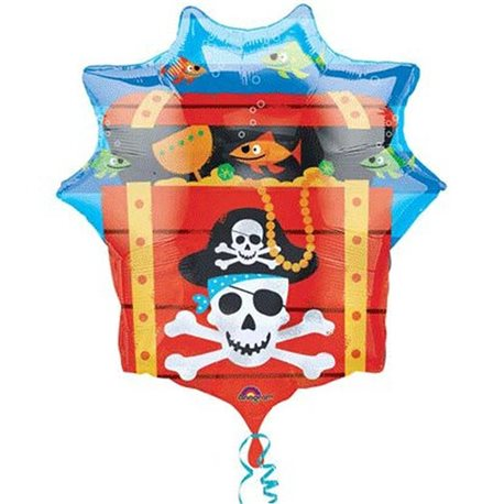 Pirate Treasure Chest Supershape Foil Balloon, 63 x 71 cm, 10997