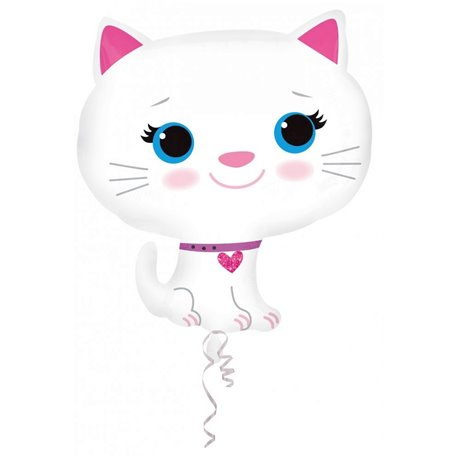 Balon Folie Figurina Kitten-White - 43x51cm, Amscan A27728ST