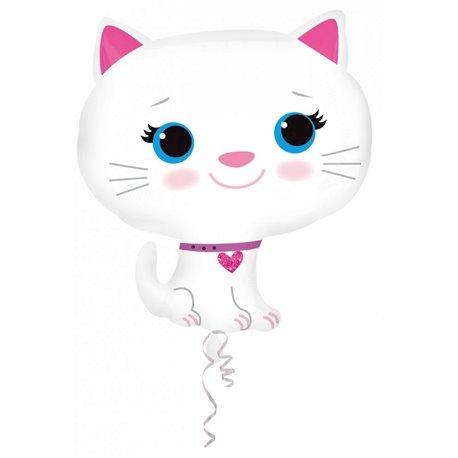 Kitten-White Super Shape Foil Balloon - 43x51cm, Amscan A27728ST
