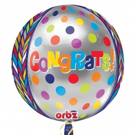 Balon Folie Orbz Sfera Congratulations, 40 cm, Amscan 28373, 1 buc