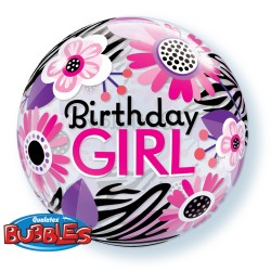 "Balon Bubble 22""/56cm Birthday Girl Floral Zebra Stripes, Qualatex 13738"
