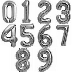 """Balon Folie cu Cifre 0-9 Argintiu - 16""""/41cm, Northstar Balloons, 1 buc"""