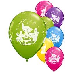 Baloane latex 11''/28cm Baby Shower asortate, Qualatex 18508, Set 25 buc