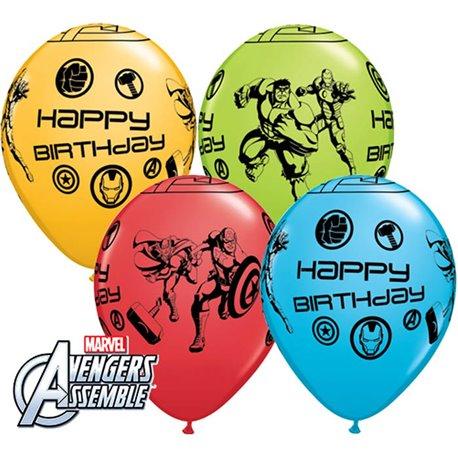 Baloane latex 11''/28cm Avengers - Happy Birthday, Qualatex 18674, Set 25 buc